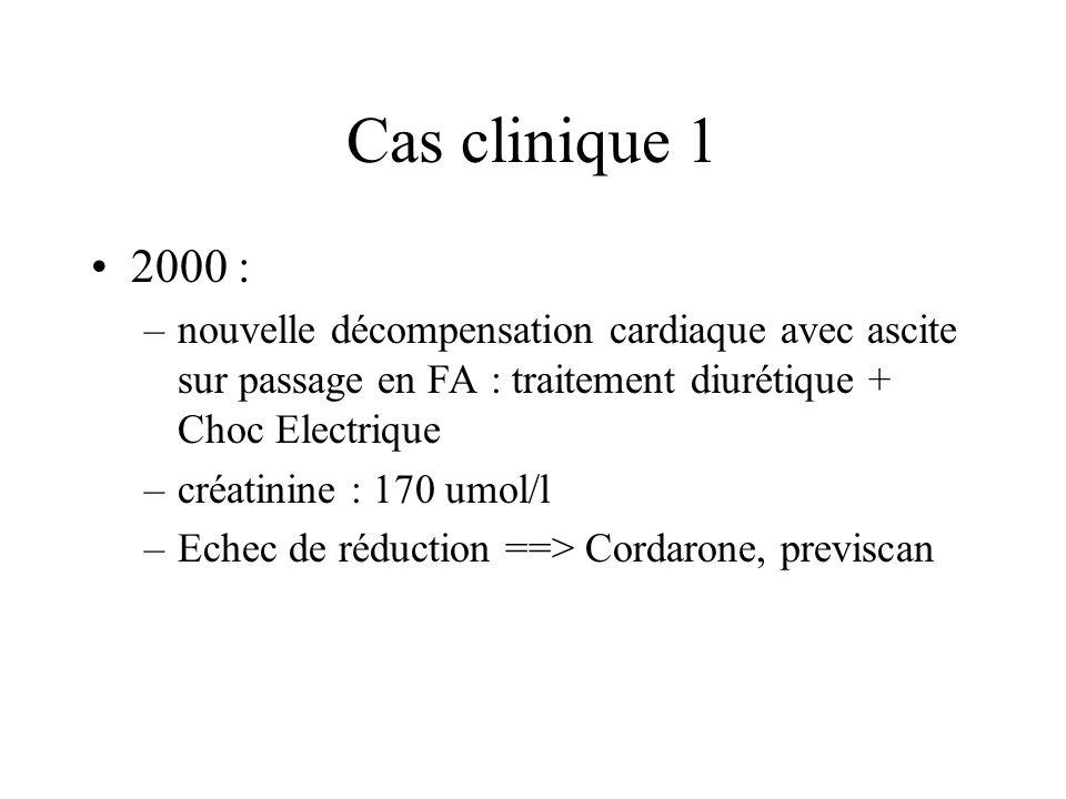 Cas clinique 1 2000 : –nouvelle décompensation cardiaque avec ascite sur passage en FA : traitement diurétique + Choc Electrique –créatinine : 170 umol/l –Echec de réduction ==> Cordarone, previscan