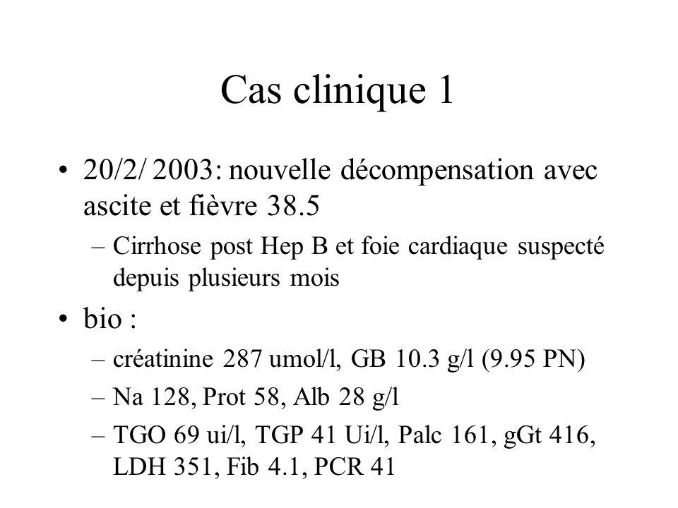 Cas clinique 1 20/2/ 2003: nouvelle décompensation avec ascite et fièvre 38.5 –Cirrhose post Hep B et foie cardiaque suspecté depuis plusieurs mois bio : –créatinine 287 umol/l, GB 10.3 g/l (9.95 PN) –Na 128, Prot 58, Alb 28 g/l –TGO 69 ui/l, TGP 41 Ui/l, Palc 161, gGt 416, LDH 351, Fib 4.1, PCR 41