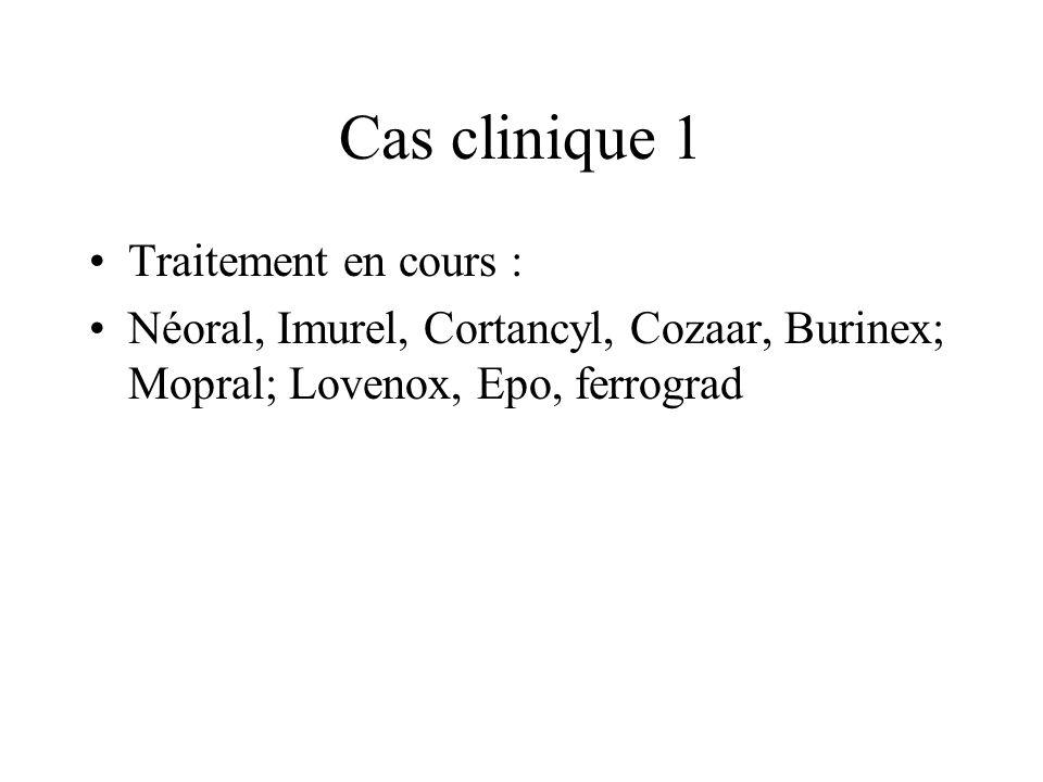 Cas clinique 1 Traitement en cours : Néoral, Imurel, Cortancyl, Cozaar, Burinex; Mopral; Lovenox, Epo, ferrograd