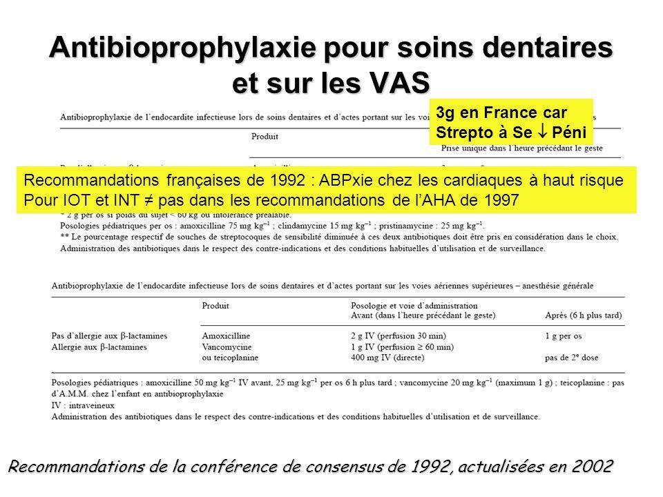 Antibioprophylaxie pour soins dentaires et sur les VAS Recommandations de la conférence de consensus de 1992, actualisées en 2002 Recommandations fran