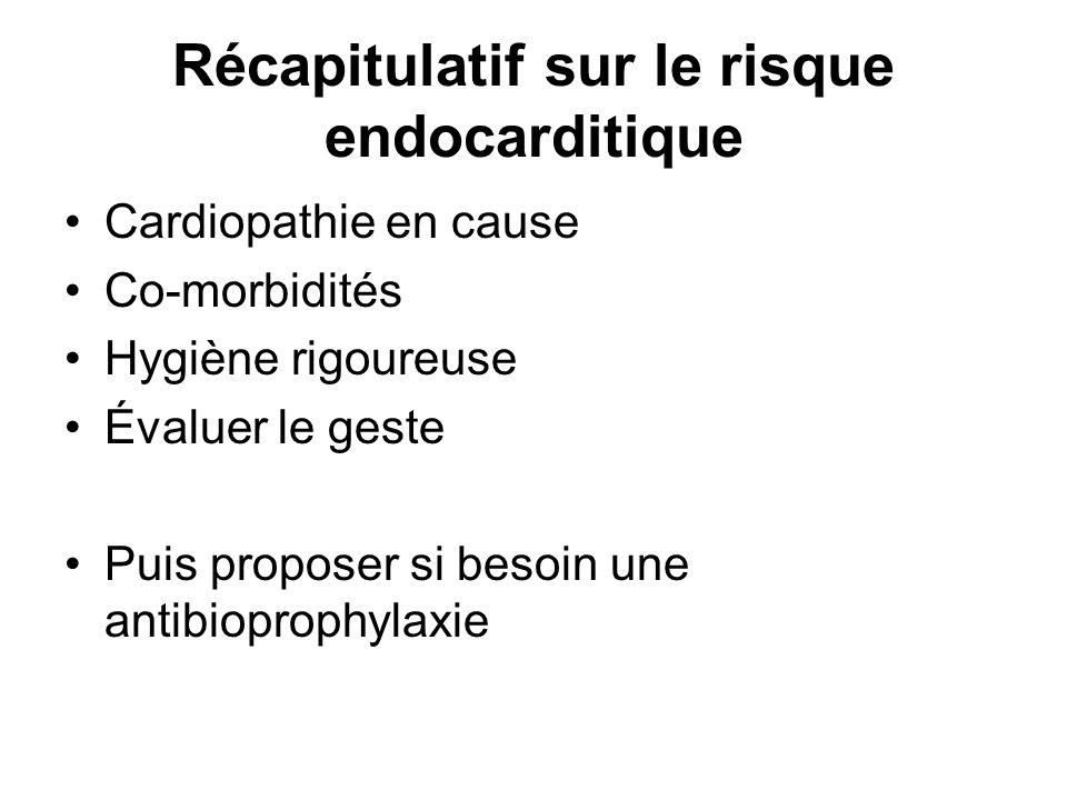 Récapitulatif sur le risque endocarditique Cardiopathie en cause Co-morbidités Hygiène rigoureuse Évaluer le geste Puis proposer si besoin une antibio