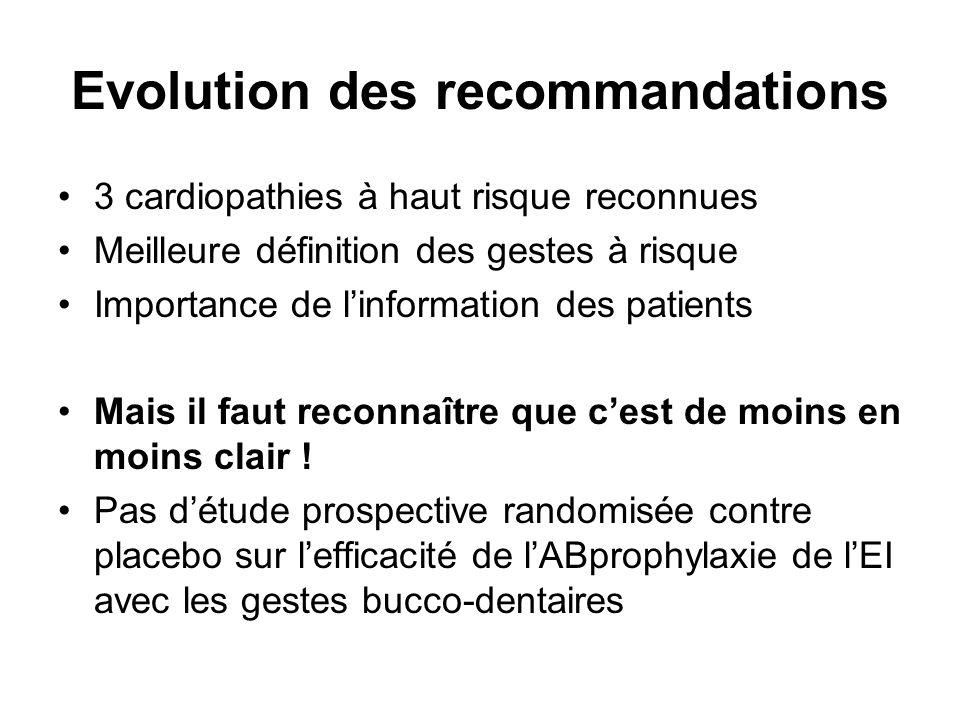 Evolution des recommandations 3 cardiopathies à haut risque reconnues Meilleure définition des gestes à risque Importance de linformation des patients