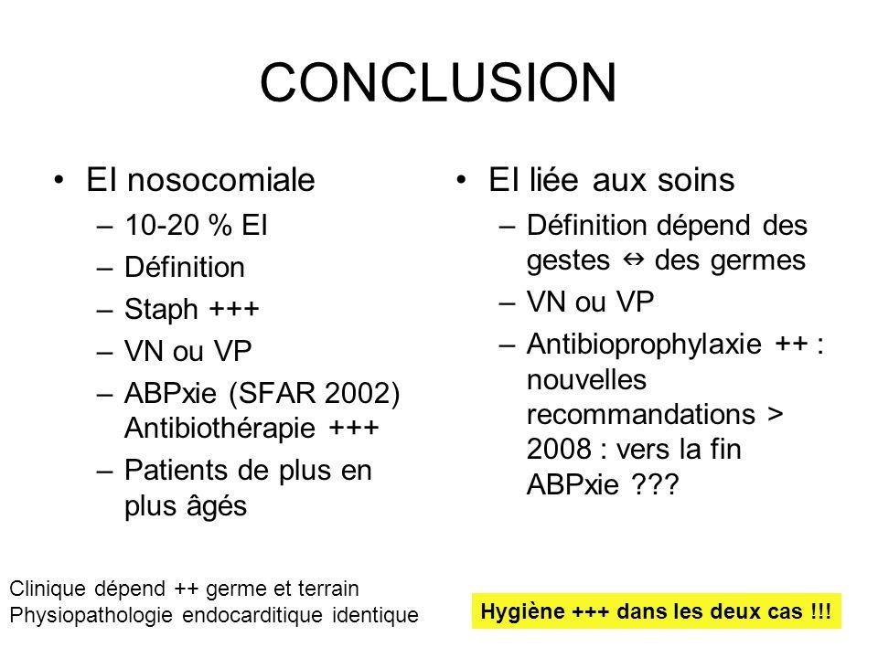 CONCLUSION EI nosocomiale –10-20 % EI –Définition –Staph +++ –VN ou VP –ABPxie (SFAR 2002) Antibiothérapie +++ –Patients de plus en plus âgés EI liée
