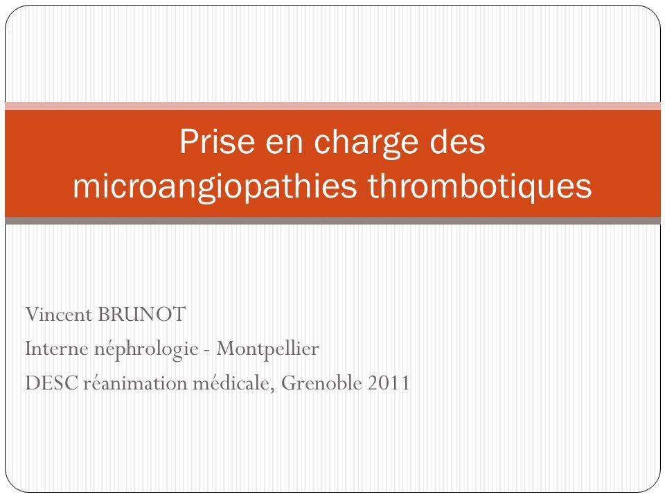 Vincent BRUNOT Interne néphrologie - Montpellier DESC réanimation médicale, Grenoble 2011 Prise en charge des microangiopathies thrombotiques