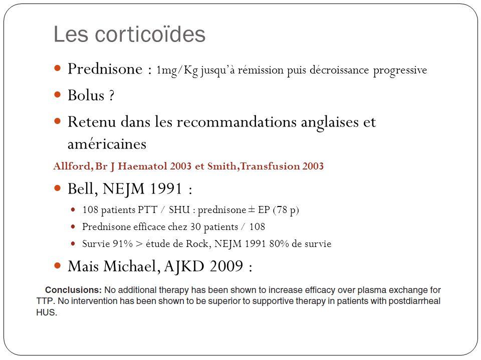 Les corticoïdes Prednisone : 1mg/Kg jusquà rémission puis décroissance progressive Bolus ? Retenu dans les recommandations anglaises et américaines Al