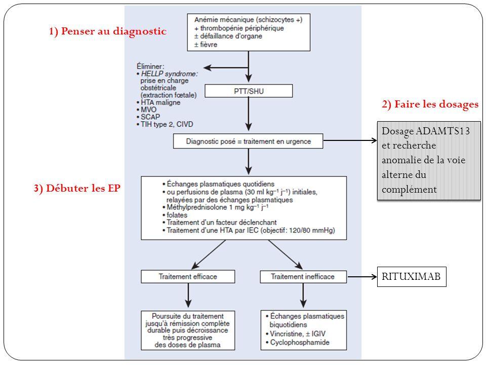 RITUXIMAB Dosage ADAMTS13 et recherche anomalie de la voie alterne du complément 1) Penser au diagnostic 2) Faire les dosages 3) Débuter les EP