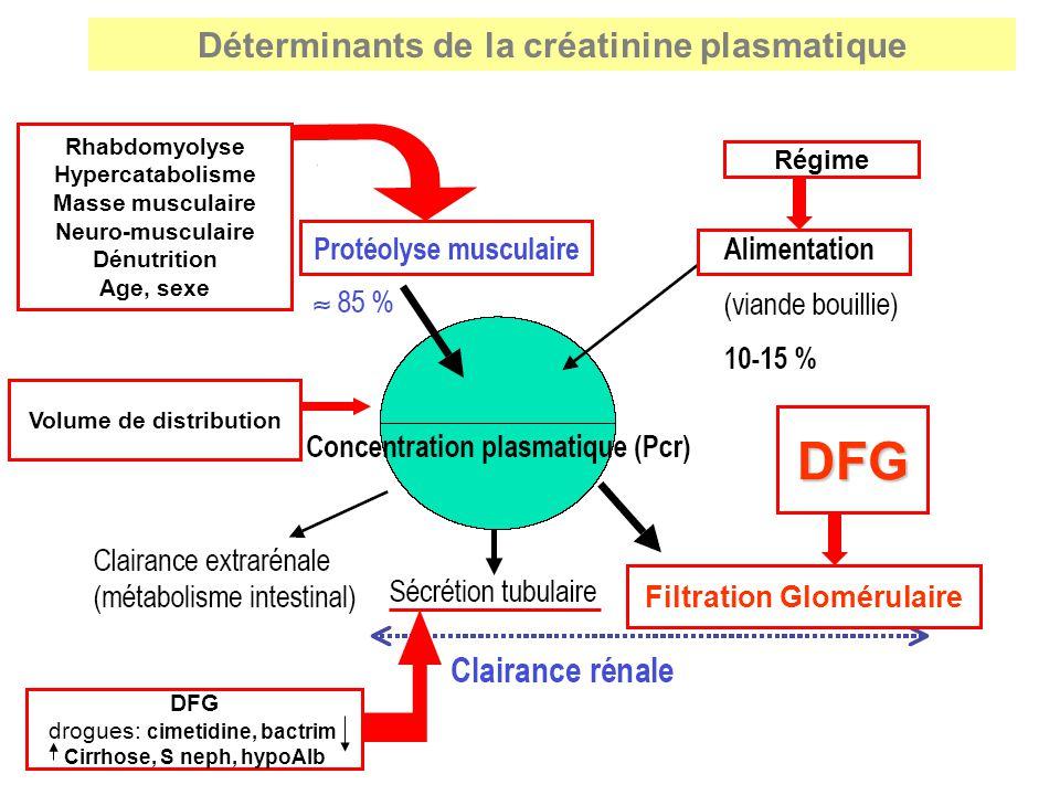 Rhabdomyolyse Hypercatabolisme Masse musculaire Neuro-musculaire Dénutrition Age, sexe Régime DFG DFG drogues: cimetidine, bactrim Cirrhose, S neph, h
