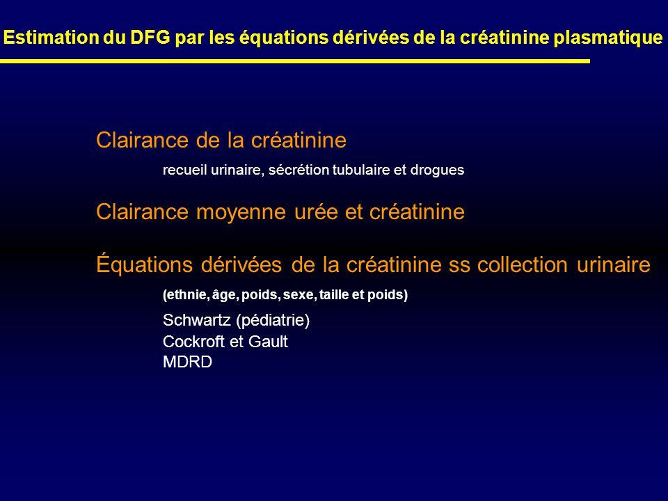 Estimation du DFG par les équations dérivées de la créatinine plasmatique Clairance de la créatinine recueil urinaire, sécrétion tubulaire et drogues