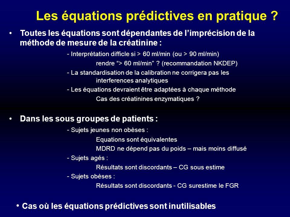 Les équations prédictives en pratique ? Toutes les équations sont dépendantes de limprécision de la méthode de mesure de la créatinine : - Interprétat