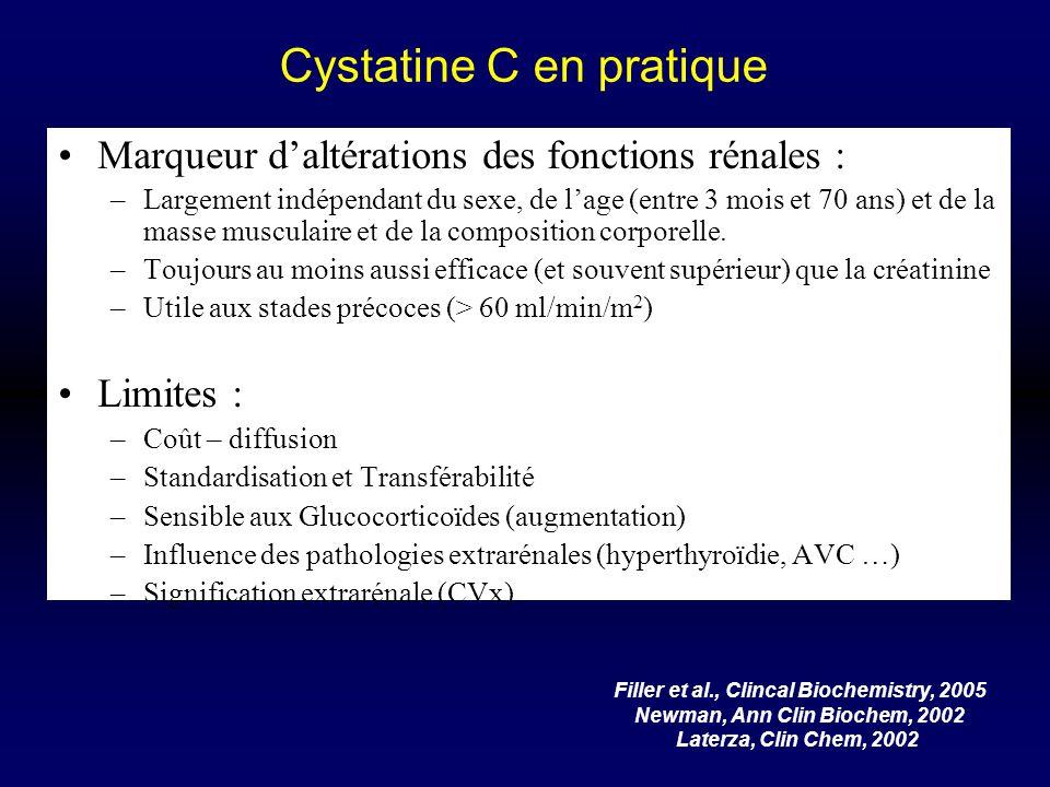 Cystatine C en pratique Marqueur daltérations des fonctions rénales : –Largement indépendant du sexe, de lage (entre 3 mois et 70 ans) et de la masse