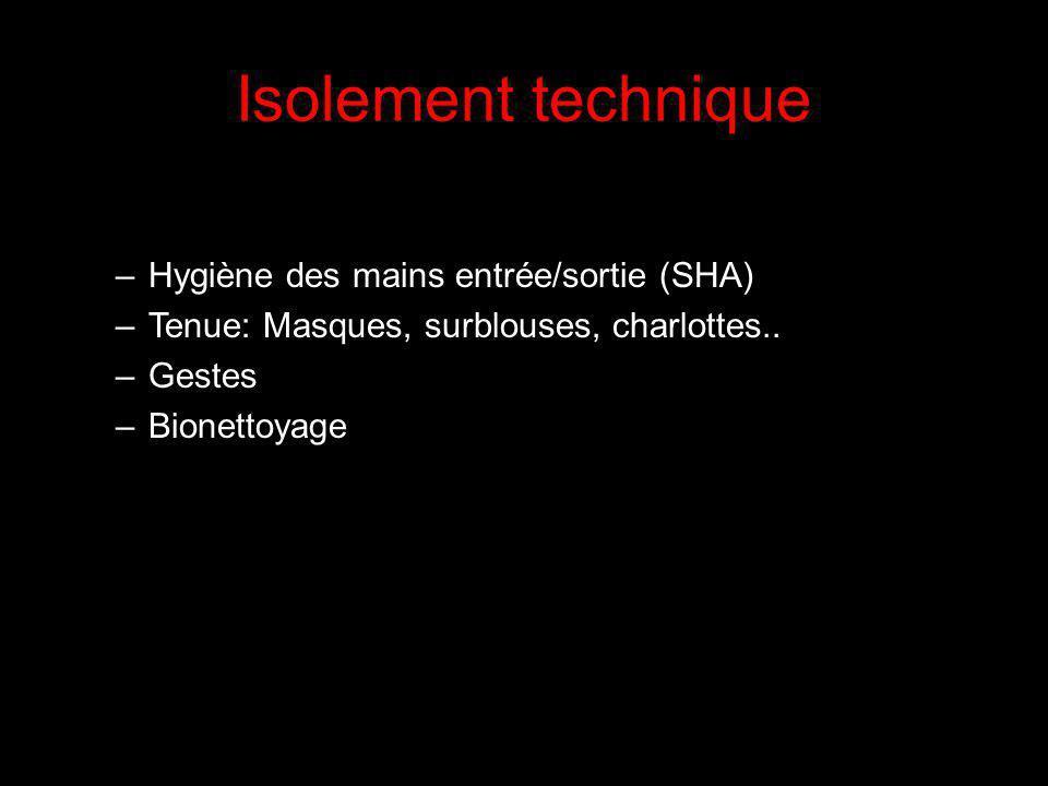 Isolement technique –Hygiène des mains entrée/sortie (SHA) –Tenue: Masques, surblouses, charlottes..