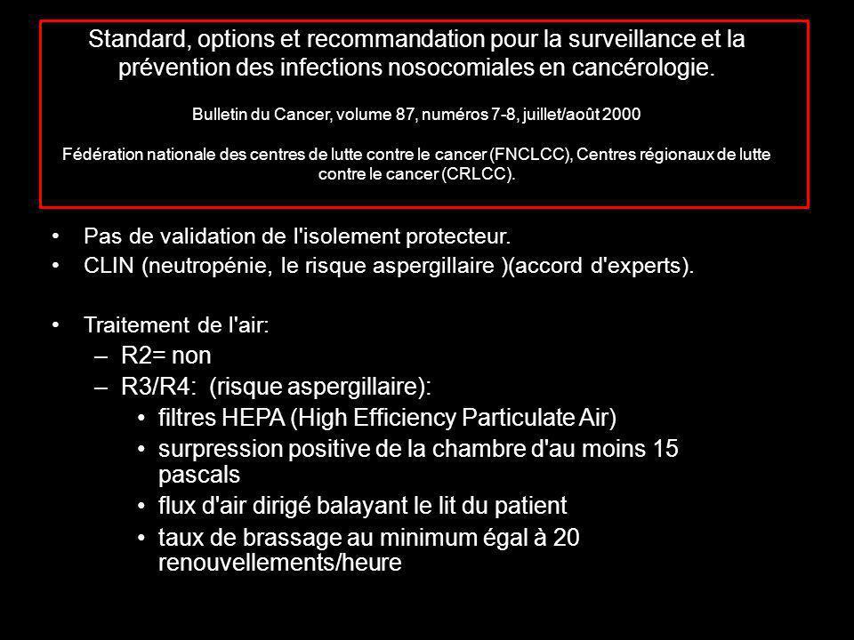 Standard, options et recommandation pour la surveillance et la prévention des infections nosocomiales en cancérologie.