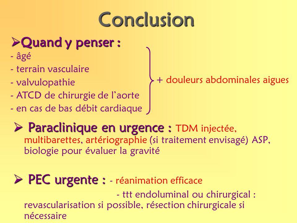 Conclusion Paraclinique en urgence : Paraclinique en urgence : TDM injectée, multibarettes, artériographie (si traitement envisagé) ASP, biologie pour