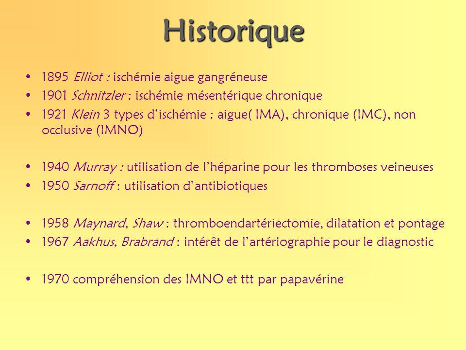 Historique 1895 Elliot : ischémie aigue gangréneuse 1901 Schnitzler : ischémie mésentérique chronique 1921 Klein 3 types dischémie : aigue( IMA), chro