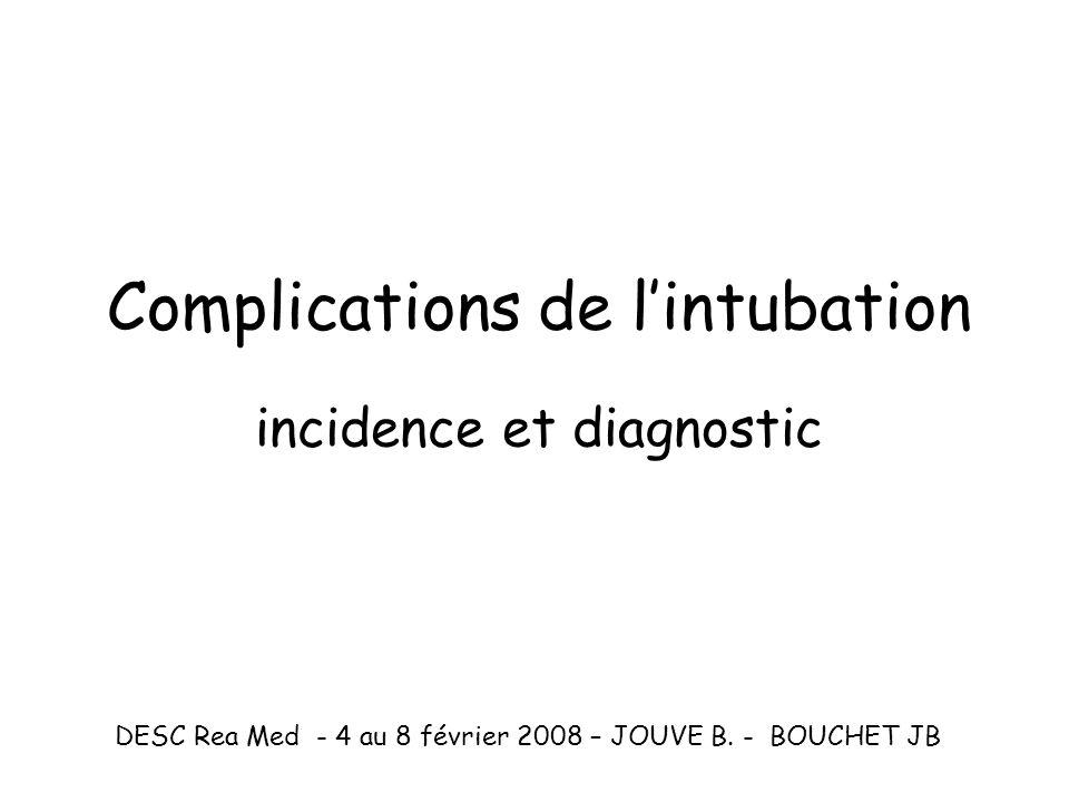 Complications laryngées et trachéales post extubation fréquence Parfois graves Données épidémiologiques pauvres et anciennes