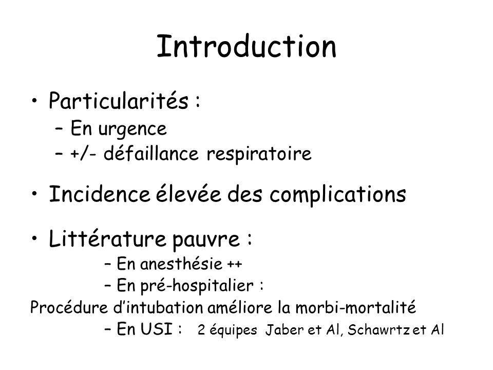 Introduction Complications générales –Précoces : Hémodynamique : Arrêt cardiaque, collapsus, TDR, décès Pulmonaires : hypoxémie, inhalation Intubation oesophagienne, traumatique, Intubation difficile Incidence élevée : 30% –Tardives : PAVM Sinusite Complications locales lésion laryngo-trachéales, œdème laryngé