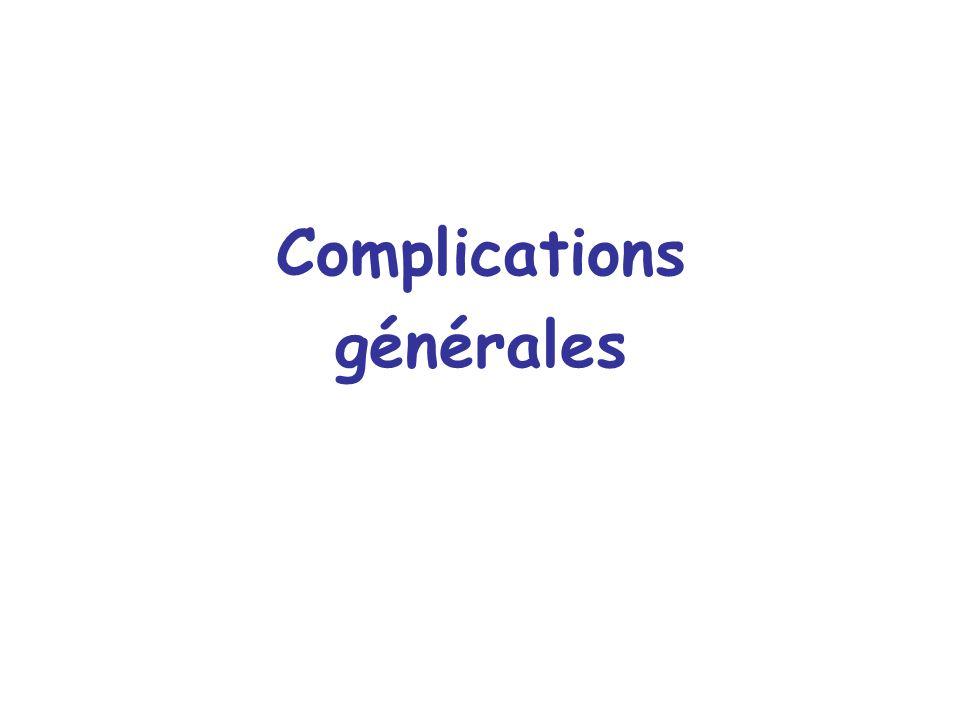 Complications laryngées secondaires Précoces - Oedème laryngé - Incompétence laryngée - Enrouement Tardives - Granulome - Sténose laryngée