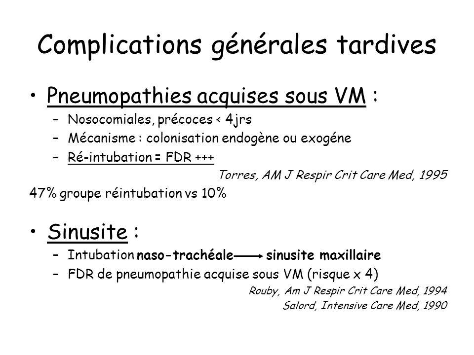 Complications trachéales + rares Immédiates - Plaies de trachée Tardives - Sténose trachéale - Fausses membranes obstructives - Trachéomalacie - Fistules