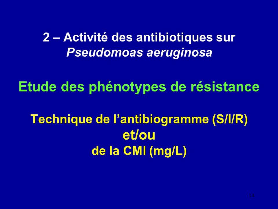 14 2 – Activité des antibiotiques sur Pseudomoas aeruginosa Etude des phénotypes de résistance Technique de lantibiogramme (S/I/R) et/ou de la CMI (mg