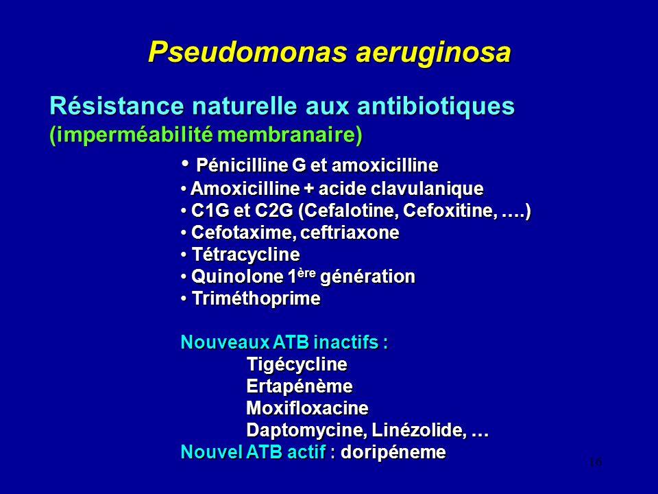 16 Pseudomonas aeruginosa Résistance naturelle aux antibiotiques (imperméabilité membranaire) Pénicilline G et amoxicilline Pénicilline G et amoxicill