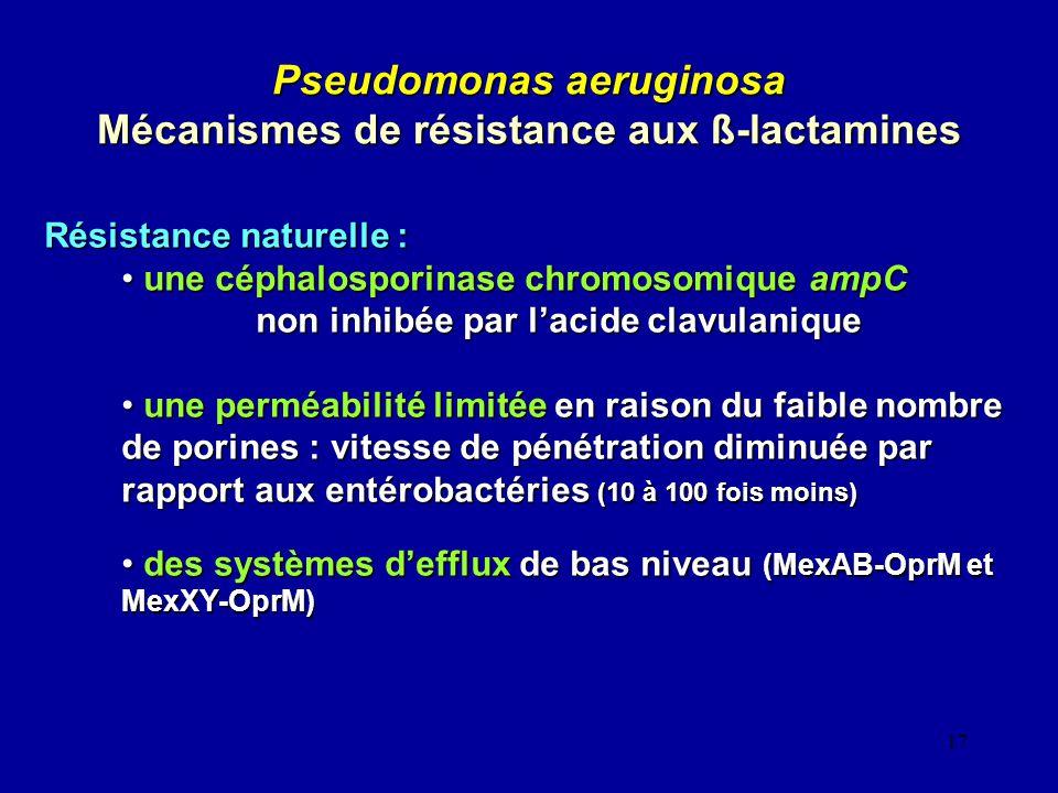 17 Pseudomonas aeruginosa Mécanismes de résistance aux ß-lactamines Résistance naturelle : une céphalosporinase chromosomique ampC une céphalosporinas