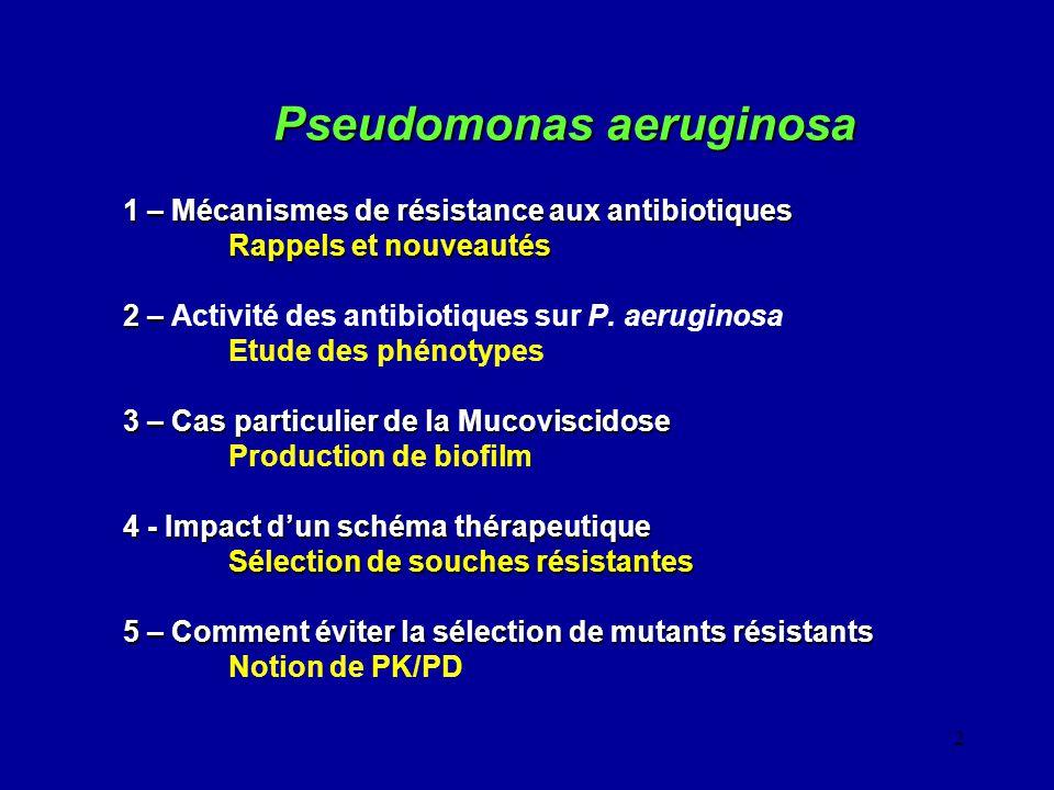 2 Pseudomonas aeruginosa 1 – Mécanismes de résistance aux antibiotiques Rappels et nouveautés 2 – 2 – Activité des antibiotiques sur P. aeruginosa Etu
