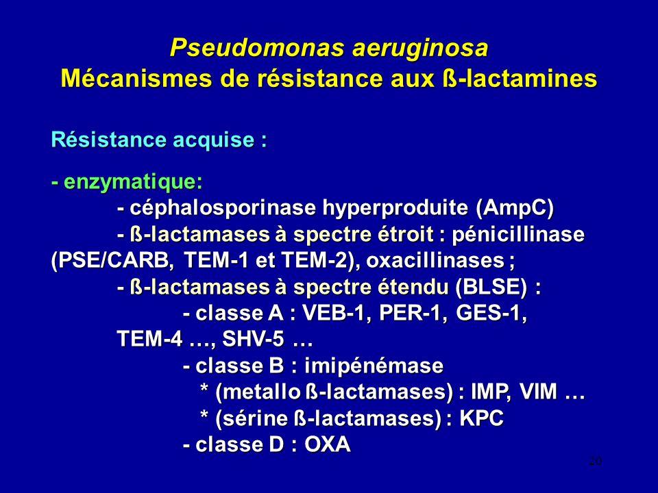 20 Pseudomonas aeruginosa Mécanismes de résistance aux ß-lactamines Résistance acquise : - enzymatique: - céphalosporinase hyperproduite (AmpC) - ß-la