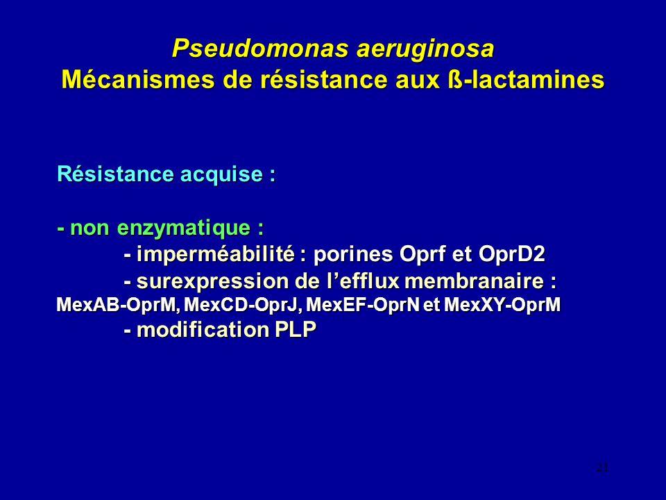 21 Pseudomonas aeruginosa Mécanismes de résistance aux ß-lactamines Résistance acquise : - non enzymatique : - imperméabilité : porines Oprf et OprD2