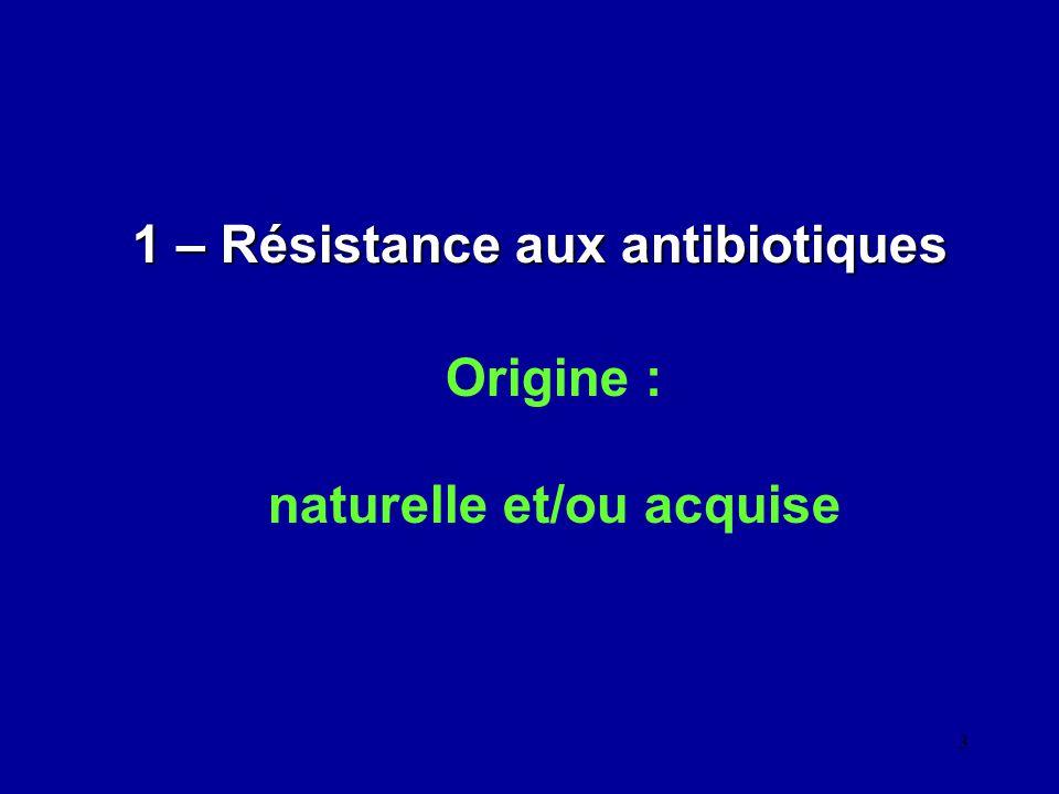4 1 - 1 - Origine naturelle Constitutive - intrinsèque : résistance commune à toutes les souches dune même espèce Phénotype sauvage ex: Membrane externe des bacilles Gram négatif (LPS) empêche la pénétration des antibiotiques lipophiles (acide fusidique) et des antibiotiques de masse moléculaire élevée ne pouvant emprunter la voie des porines (pénicilline G, V et M - glycopeptides) La perméabilité membranaire de P.