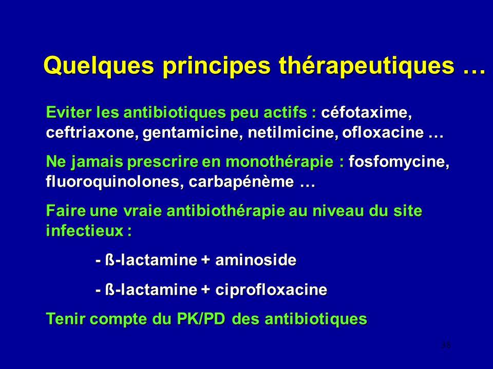 38 Quelques principes thérapeutiques … Eviter les antibiotiques peu actifs : céfotaxime, ceftriaxone, gentamicine, netilmicine, ofloxacine … Ne jamais