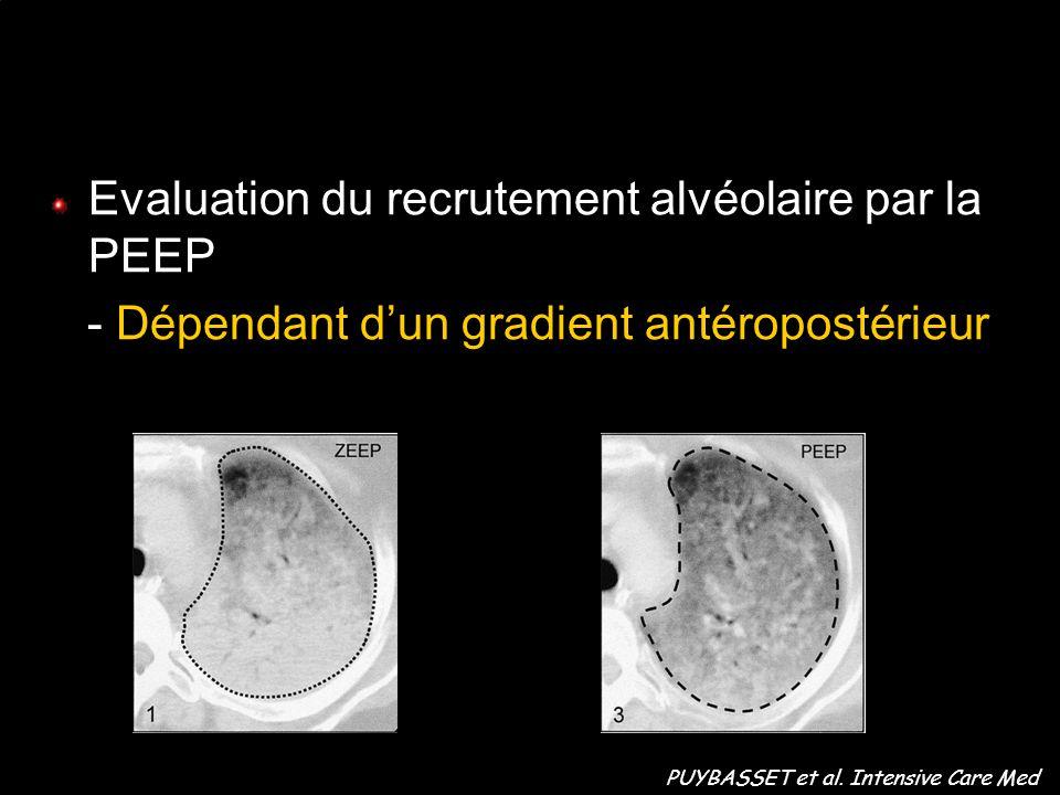 Evaluation du recrutement alvéolaire par la PEEP - Dépendant dun gradient antéropostérieur PUYBASSET et al. Intensive Care Med