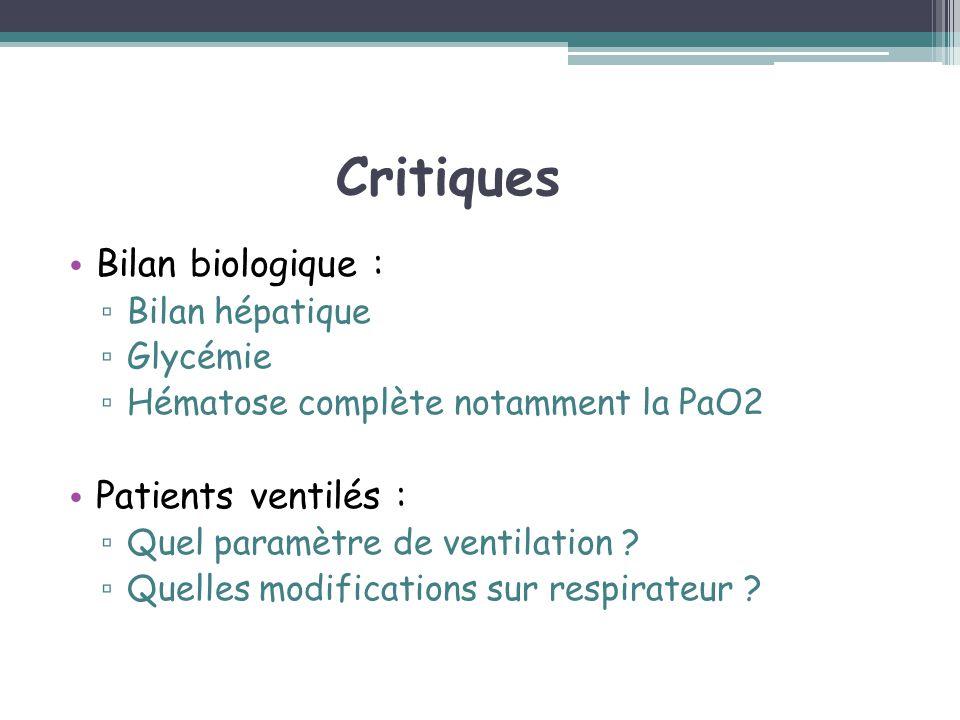 Critiques Bilan biologique : Bilan hépatique Glycémie Hématose complète notamment la PaO2 Patients ventilés : Quel paramètre de ventilation ? Quelles