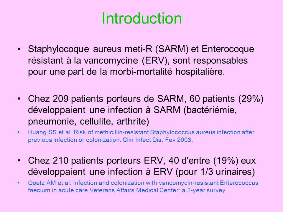 Introduction Staphylocoque aureus meti-R (SARM) et Enterocoque résistant à la vancomycine (ERV), sont responsables pour une part de la morbi-mortalité hospitalière.