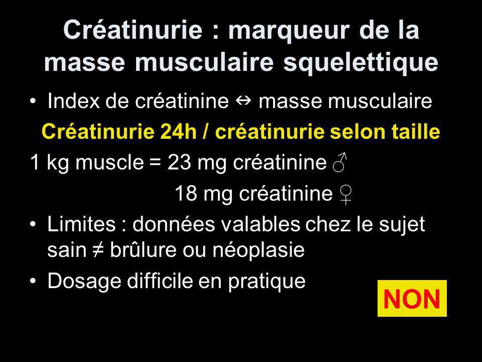 Créatinurie : marqueur de la masse musculaire squelettique Index de créatinine masse musculaire Créatinurie 24h / créatinurie selon taille 1 kg muscle = 23 mg créatinine 18 mg créatinine Limites : données valables chez le sujet sain brûlure ou néoplasie Dosage difficile en pratique NON