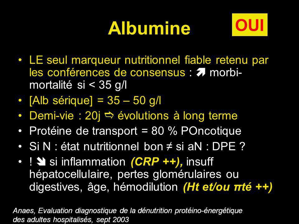 Albumine LE seul marqueur nutritionnel fiable retenu par les conférences de consensus : morbi- mortalité si < 35 g/l [Alb sérique] = 35 – 50 g/l Demi-vie : 20j évolutions à long terme Protéine de transport = 80 % POncotique Si N : état nutritionnel bon si aN : DPE .