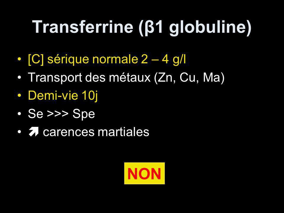Transferrine (β1 globuline) [C] sérique normale 2 – 4 g/l Transport des métaux (Zn, Cu, Ma) Demi-vie 10j Se >>> Spe carences martiales NON