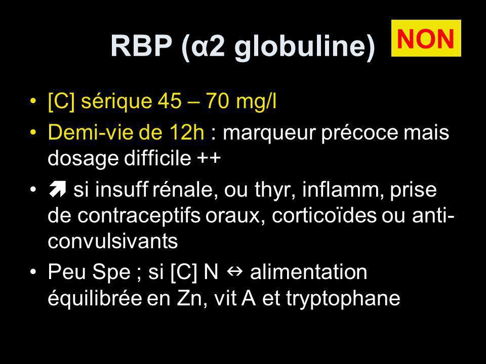 RBP (α2 globuline) [C] sérique 45 – 70 mg/l Demi-vie de 12h : marqueur précoce mais dosage difficile ++ si insuff rénale, ou thyr, inflamm, prise de contraceptifs oraux, corticoïdes ou anti- convulsivants Peu Spe ; si [C] N alimentation équilibrée en Zn, vit A et tryptophane NON