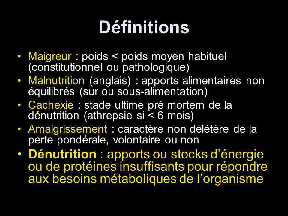 Définitions Maigreur : poids < poids moyen habituel (constitutionnel ou pathologique) Malnutrition (anglais) : apports alimentaires non équilibrés (su