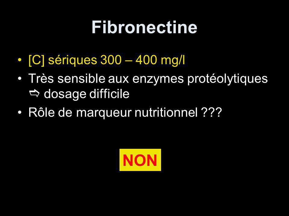 Fibronectine [C] sériques 300 – 400 mg/l Très sensible aux enzymes protéolytiques dosage difficile Rôle de marqueur nutritionnel ??.