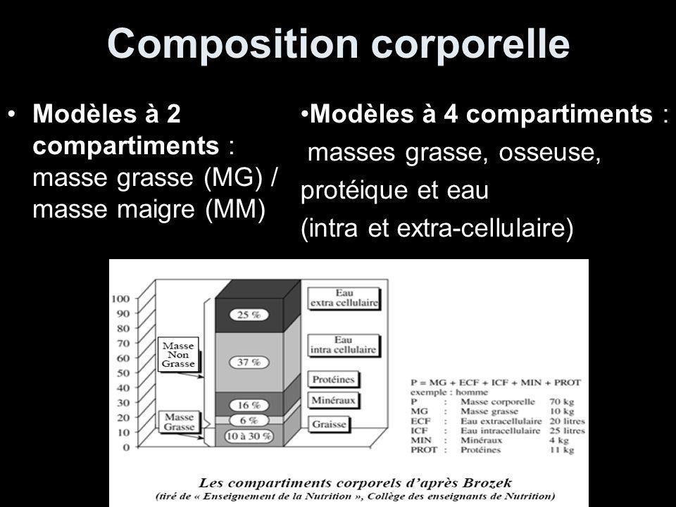 Composition corporelle Modèles à 2 compartiments : masse grasse (MG) / masse maigre (MM) Modèles à 4 compartiments : masses grasse, osseuse, protéique et eau (intra et extra-cellulaire)