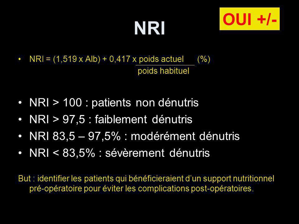 NRI NRI = (1,519 x Alb) + 0,417 x poids actuel (%) poids habituel NRI > 100 : patients non dénutris NRI > 97,5 : faiblement dénutris NRI 83,5 – 97,5% : modérément dénutris NRI < 83,5% : sévèrement dénutris But : identifier les patients qui bénéficieraient dun support nutritionnel pré-opératoire pour éviter les complications post-opératoires.