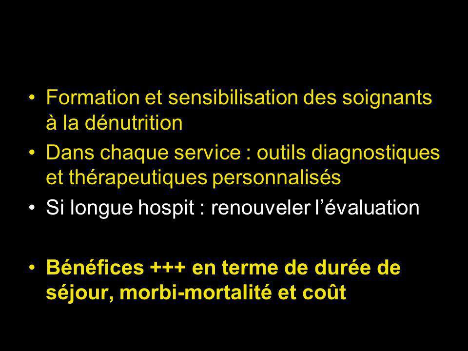 Formation et sensibilisation des soignants à la dénutrition Dans chaque service : outils diagnostiques et thérapeutiques personnalisés Si longue hospit : renouveler lévaluation Bénéfices +++ en terme de durée de séjour, morbi-mortalité et coût