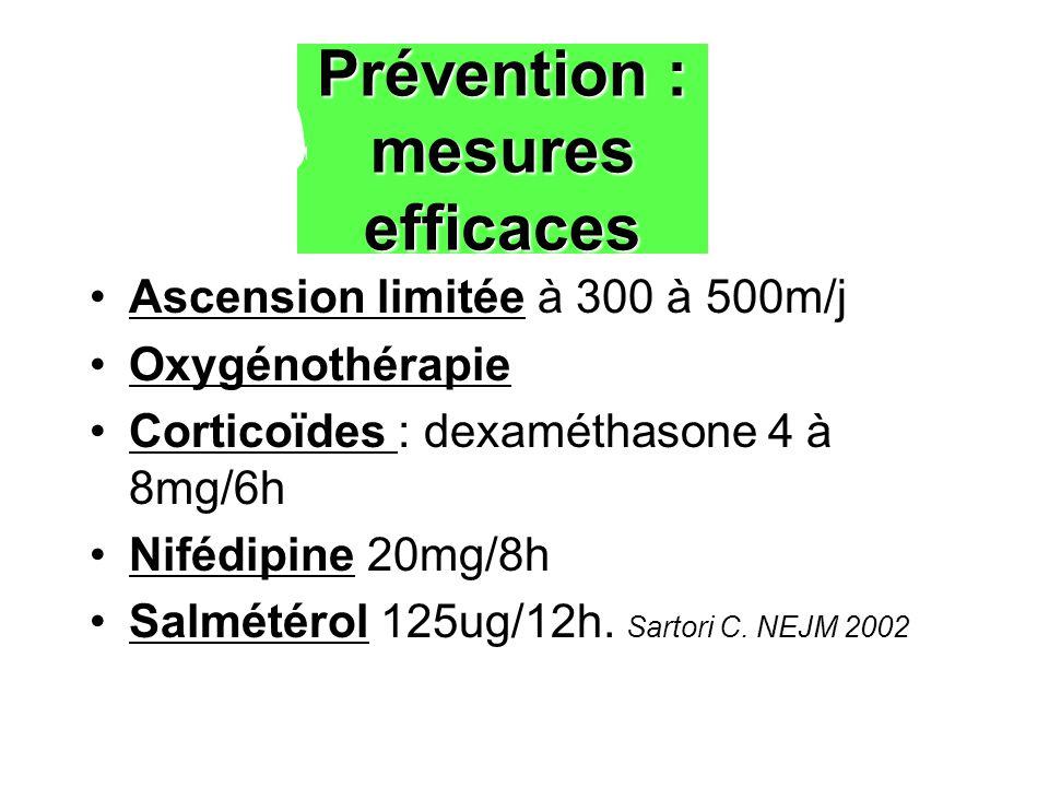 Prévention : mesures efficaces Ascension limitée à 300 à 500m/j Oxygénothérapie Corticoïdes : dexaméthasone 4 à 8mg/6h Nifédipine 20mg/8h Salmétérol 125ug/12h.