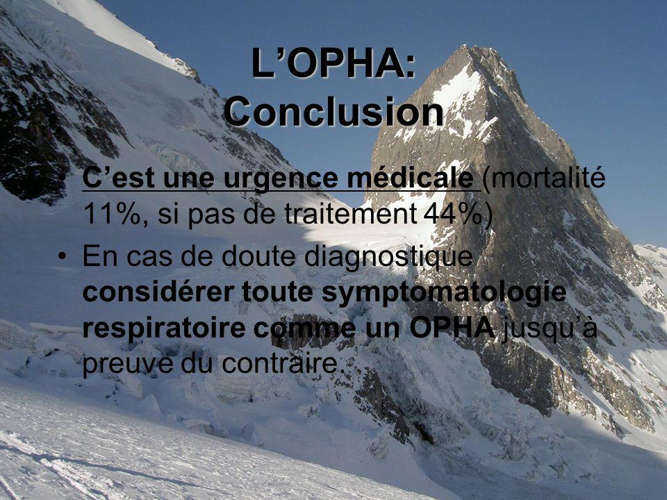 LOPHA: Conclusion Cest une urgence médicale (mortalité 11%, si pas de traitement 44%) En cas de doute diagnostique considérer toute symptomatologie respiratoire comme un OPHA jusquà preuve du contraire.