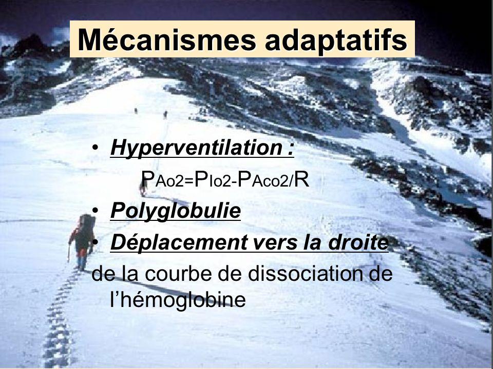 Mécanismes adaptatifs Hyperventilation : P Ao2= P Io2- P Aco2/ R Polyglobulie Déplacement vers la droite de la courbe de dissociation de lhémoglobine