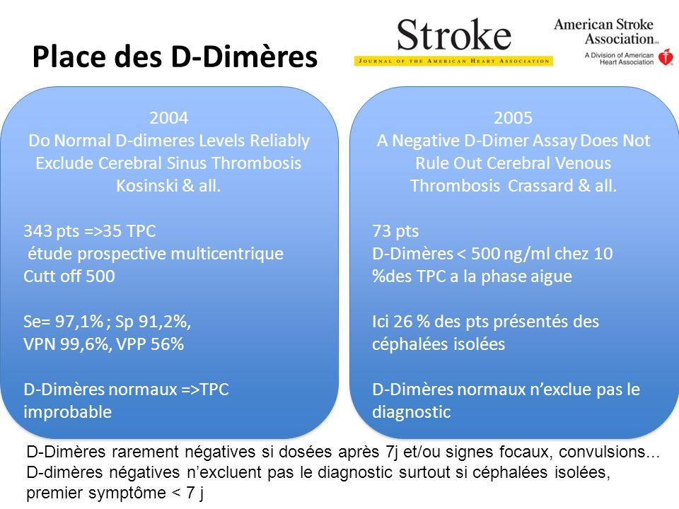 Place des D-Dimères 2004 Do Normal D-dimeres Levels Reliably Exclude Cerebral Sinus Thrombosis Kosinski & all. 343 pts =>35 TPC étude prospective mult