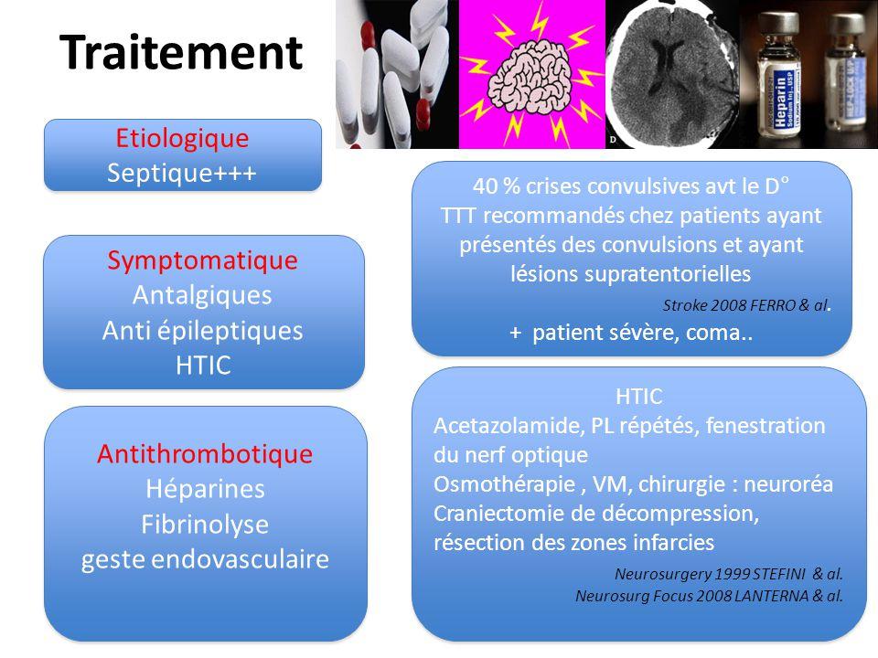 Traitement Etiologique Septique+++ Etiologique Septique+++ Symptomatique Antalgiques Anti épileptiques HTIC Symptomatique Antalgiques Anti épileptique