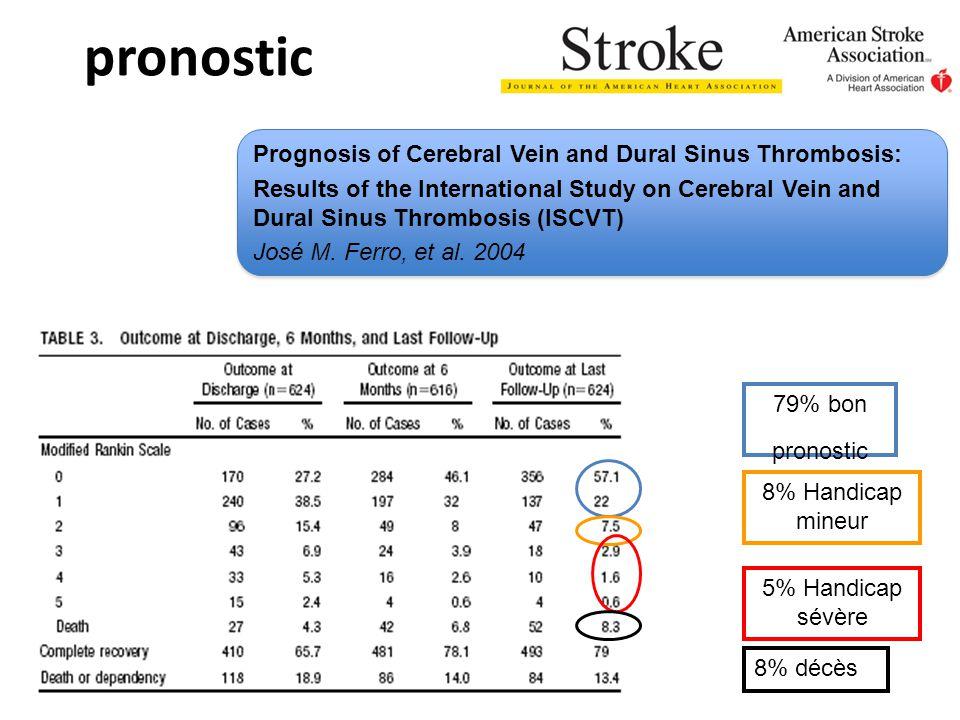 pronostic 79% bon pronostic 8% Handicap mineur 5% Handicap sévère 8% décès Prognosis of Cerebral Vein and Dural Sinus Thrombosis: Results of the International Study on Cerebral Vein and Dural Sinus Thrombosis (ISCVT) José M.