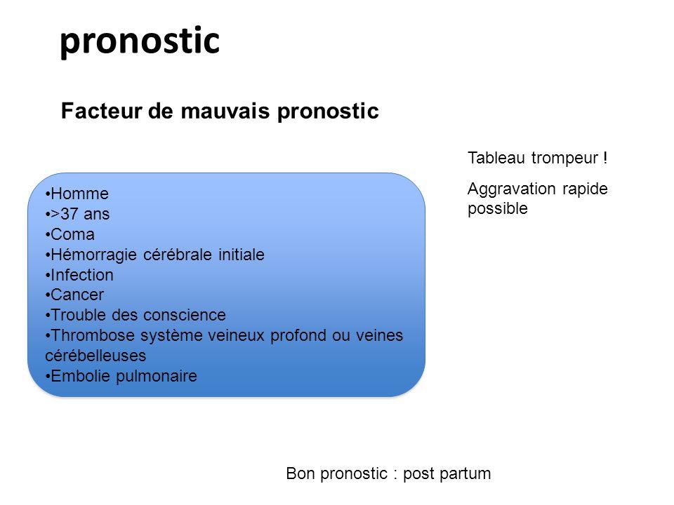 pronostic Facteur de mauvais pronostic Bon pronostic : post partum Tableau trompeur ! Aggravation rapide possible Homme >37 ans Coma Hémorragie cérébr