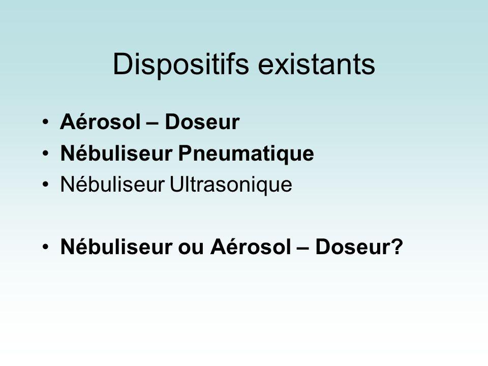 Dispositifs existants Aérosol – Doseur Nébuliseur Pneumatique Nébuliseur Ultrasonique Nébuliseur ou Aérosol – Doseur?